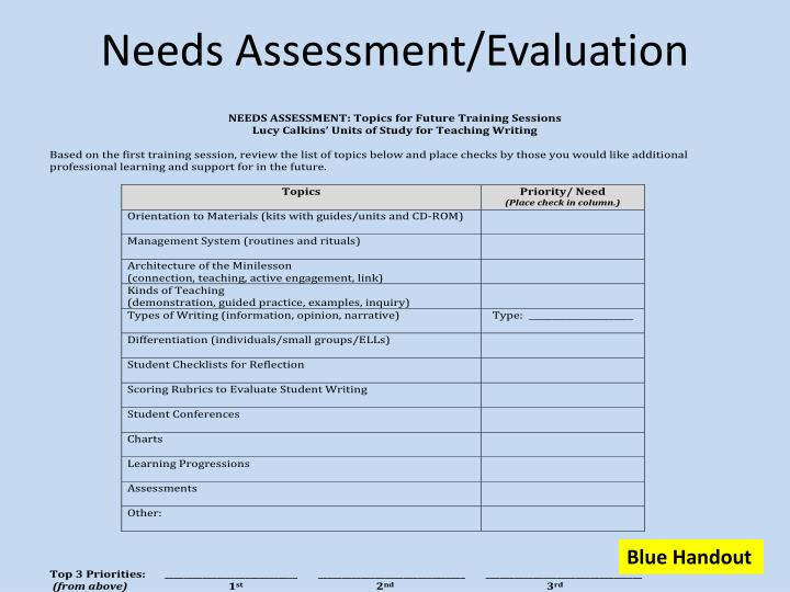 Needs Assessment/Evaluation