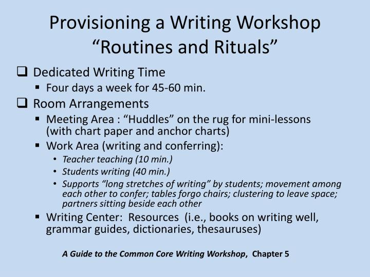 Provisioning a Writing Workshop
