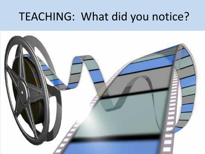 TEACHING:  What did you notice?
