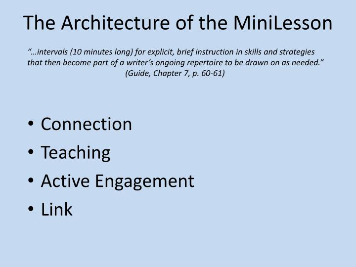 The Architecture of the MiniLesson