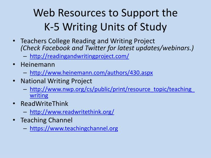 Web Resources to Support the