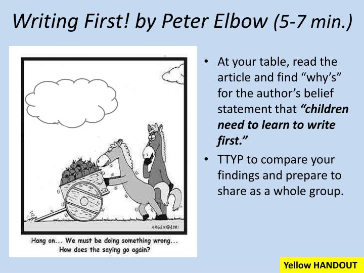 Writing First! by Peter Elbow