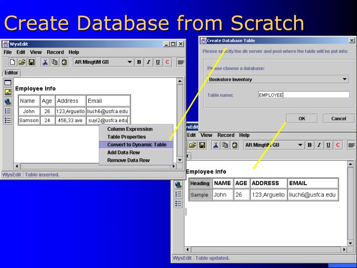 Create Database from Scratch