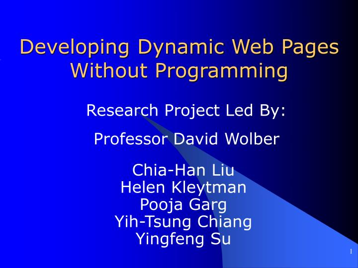 Developing dynamic web pages without programming