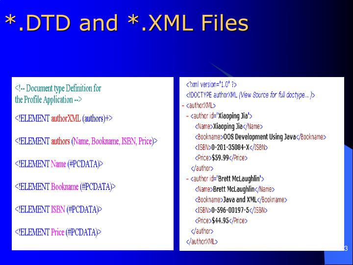 *.DTD and *.XML Files