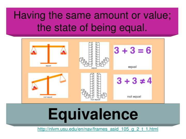 Having the same amount or value; the state of being equal.