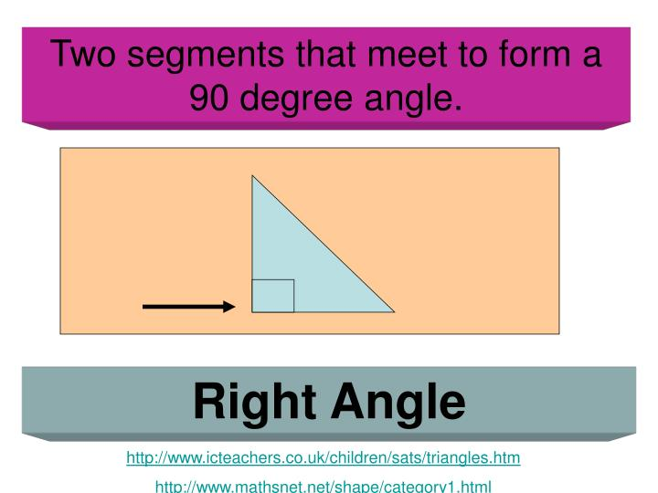 Two segments that meet to form a 90 degree angle.