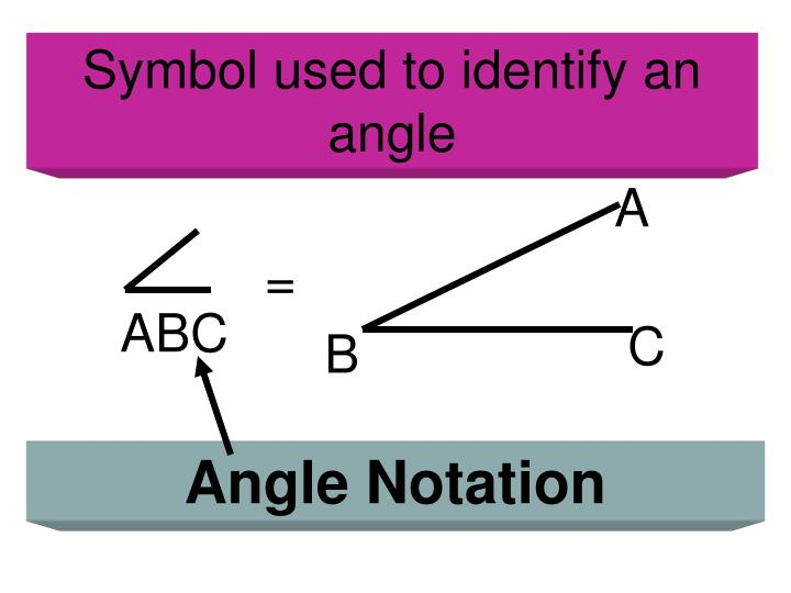 Symbol used to identify an angle
