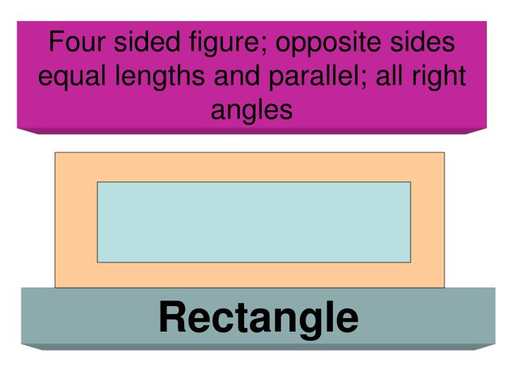 Four sided figure; opposite sides equal lengths and parallel; all right angles