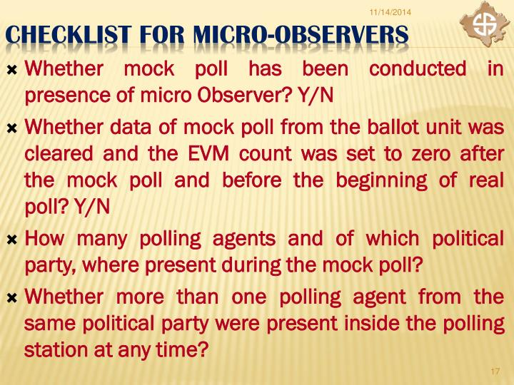 Whether mock poll has been conducted in presence of micro Observer? Y/N