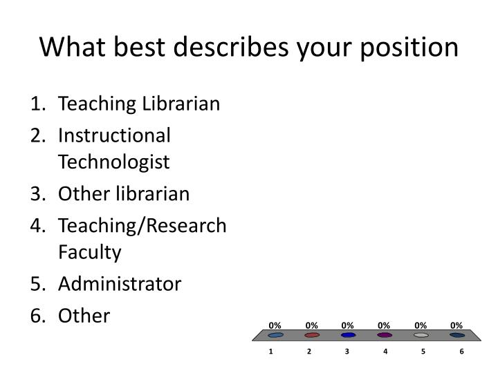 What best describes your position