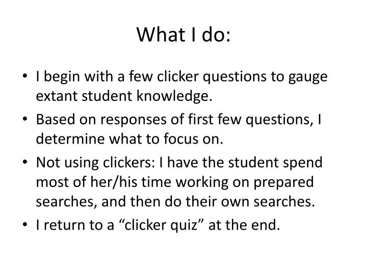 What I do: