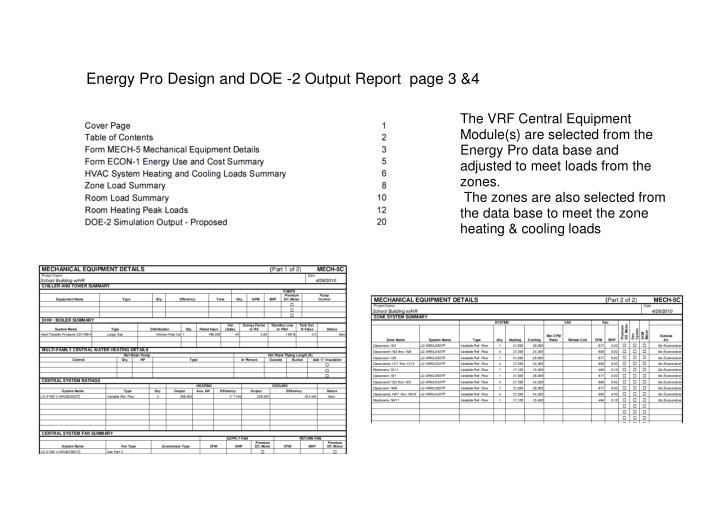 Energy Pro Design and DOE -2 Output Report  page 3 &4