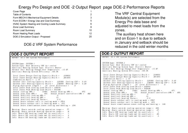 Energy Pro Design and DOE -2 Output Report  page DOE-2 Performance Reports