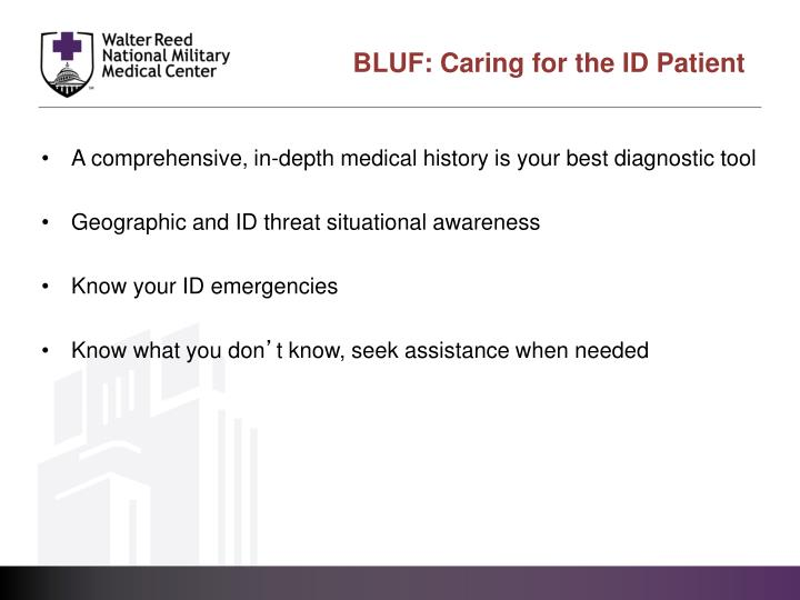 Bluf caring for the id patient