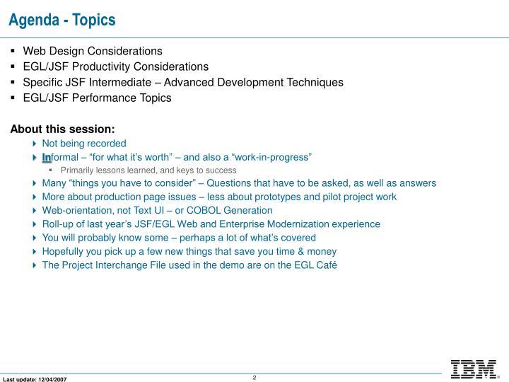 Agenda - Topics