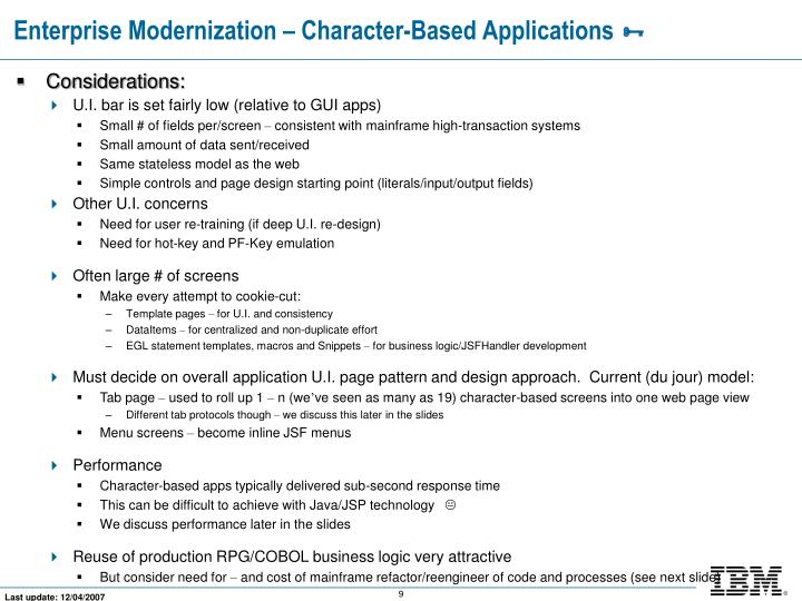 Enterprise Modernization – Character-Based Applications