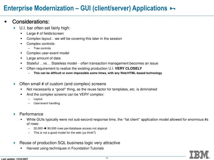 Enterprise Modernization – GUI (client/server) Applications