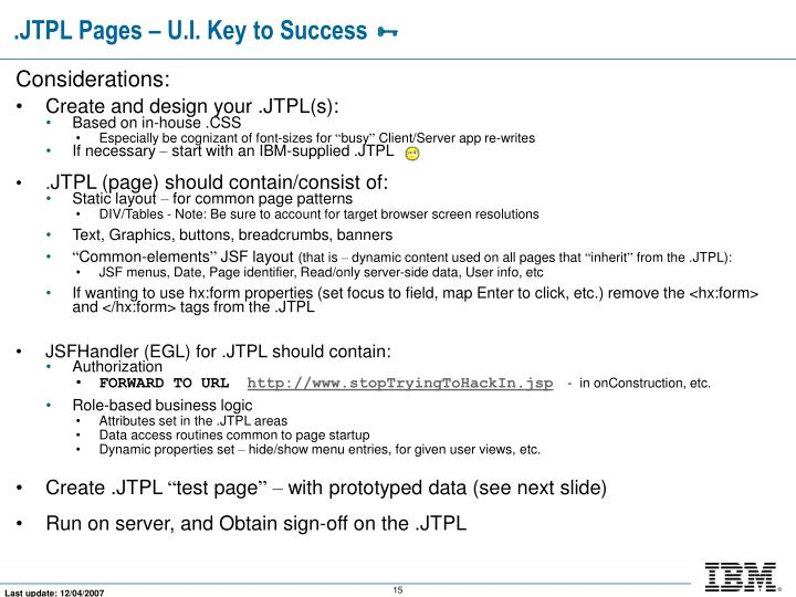 .JTPL Pages – U.I. Key to Success