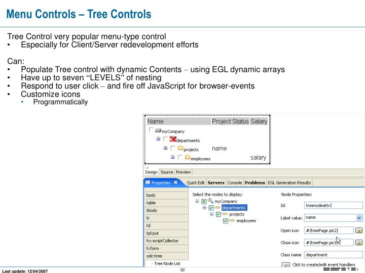 Menu Controls – Tree Controls