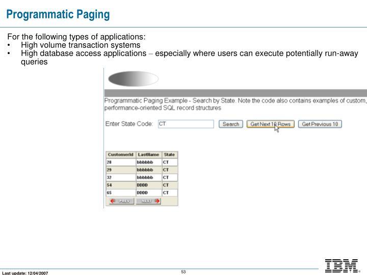 Programmatic Paging
