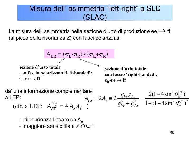 """Misura dell' asimmetria """"left-right"""" a SLD (SLAC)"""