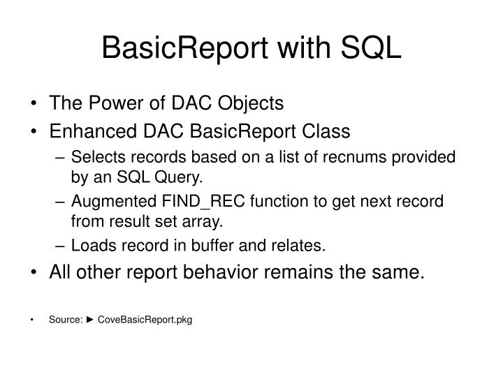 BasicReport with SQL