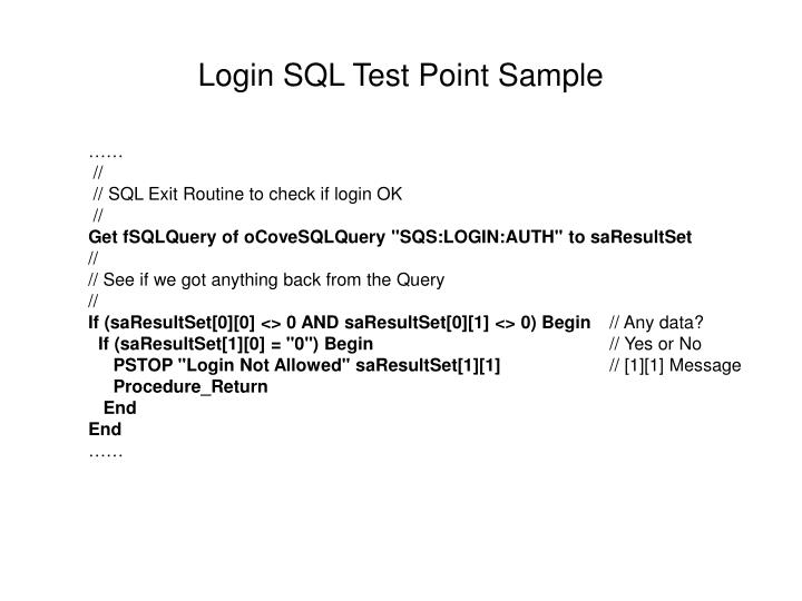 Login SQL Test Point Sample