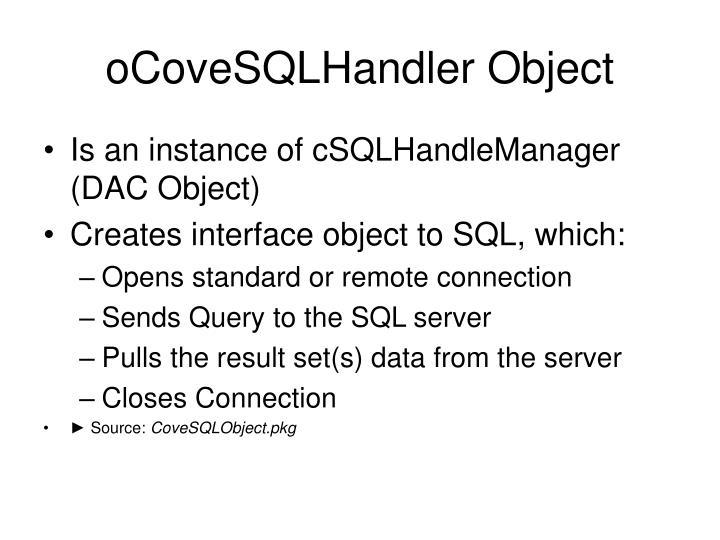 oCoveSQLHandler Object