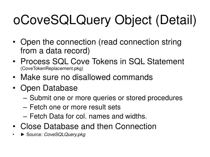 oCoveSQLQuery Object (Detail)