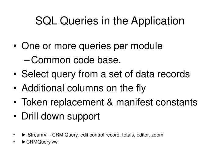 SQL Queries in the Application