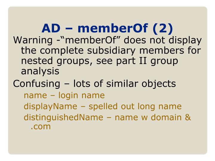 AD – memberOf (2)