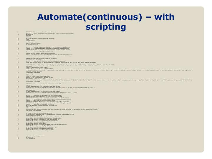 Automate(continuous) – with scripting