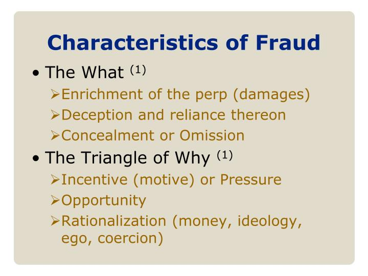 Characteristics of Fraud