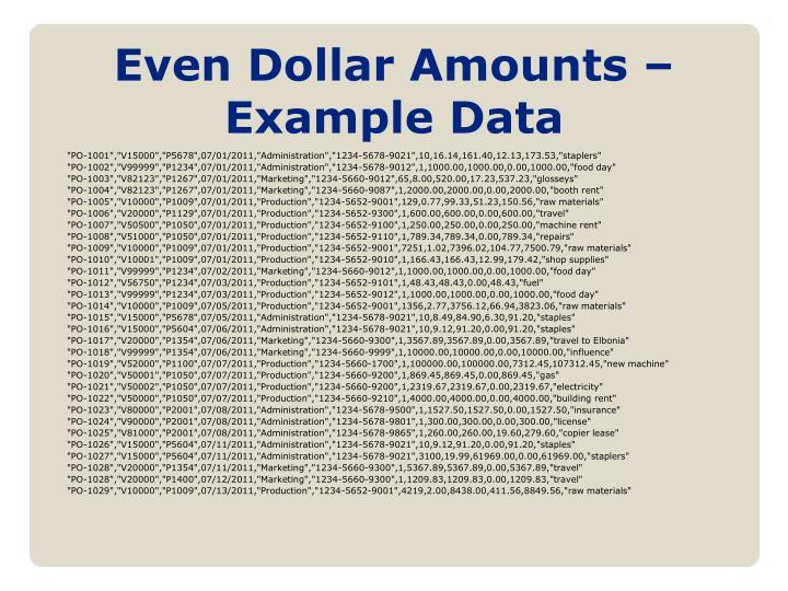 Even Dollar Amounts – Example Data