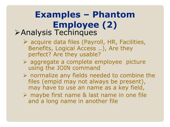 Examples – Phantom Employee (2)
