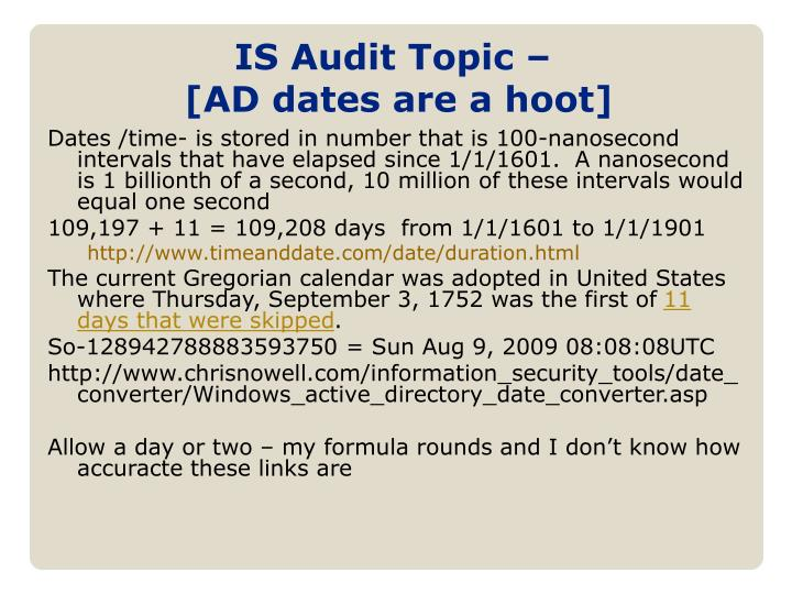 IS Audit Topic –
