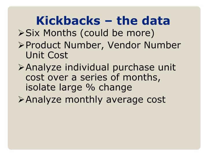 Kickbacks – the data