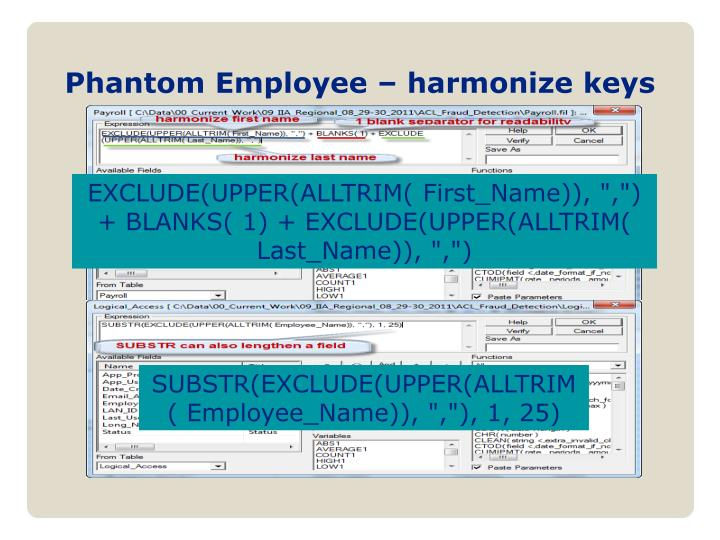 Phantom Employee – harmonize keys