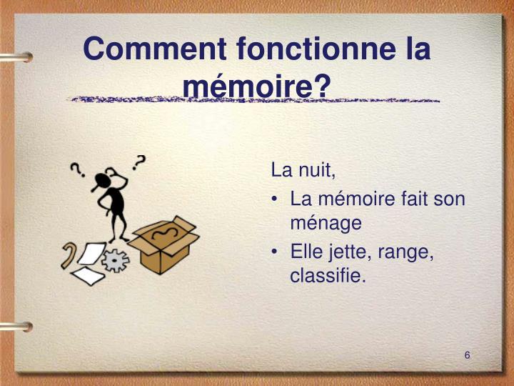 Comment fonctionne la mémoire?