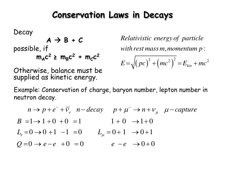 Conservation Laws in Decays