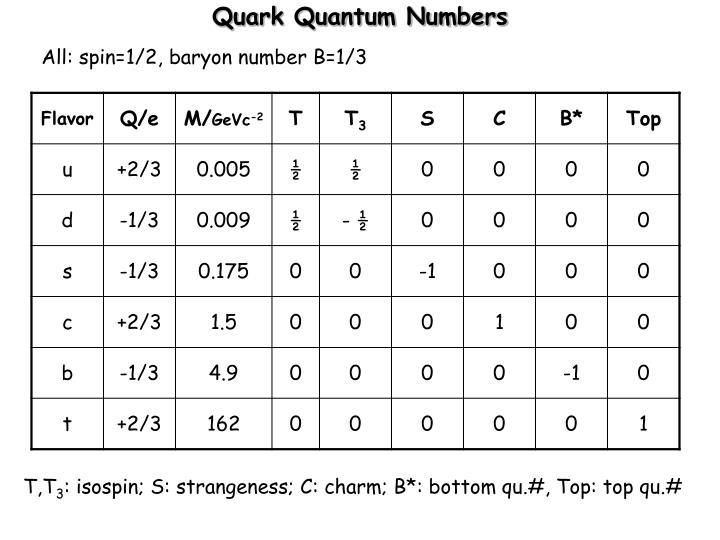 Quark Quantum Numbers