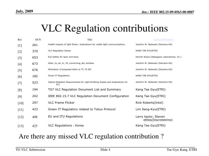 VLC Regulation contributions
