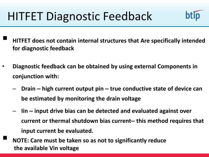 HITFET Diagnostic Feedback