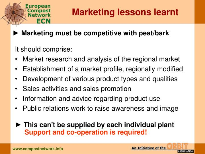Marketing lessons learnt