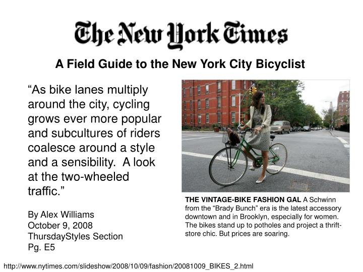 A Field Guide to the New York City Bicyclist
