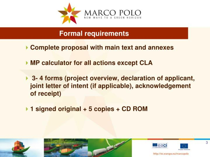 Formal requirements