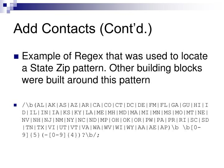 Add Contacts (Cont'd.)