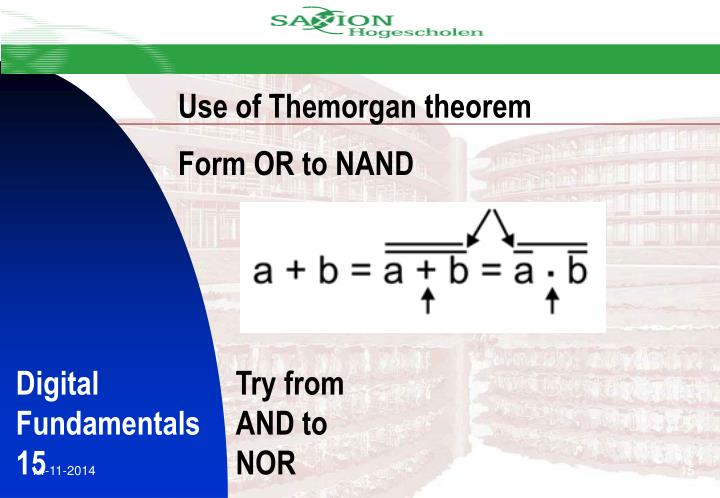 Use of Themorgan theorem