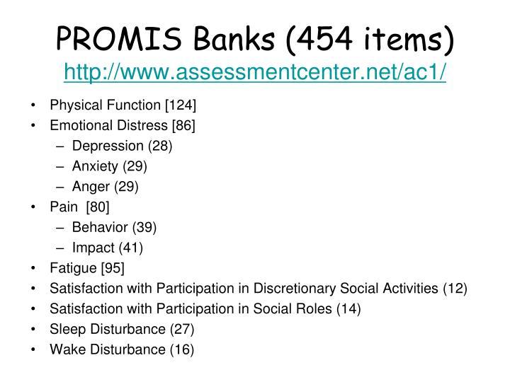 PROMIS Banks (454 items)